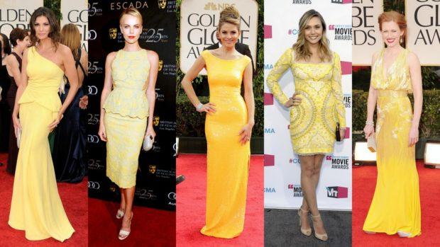 что надеть на новы год 2018: платья желтое в пол