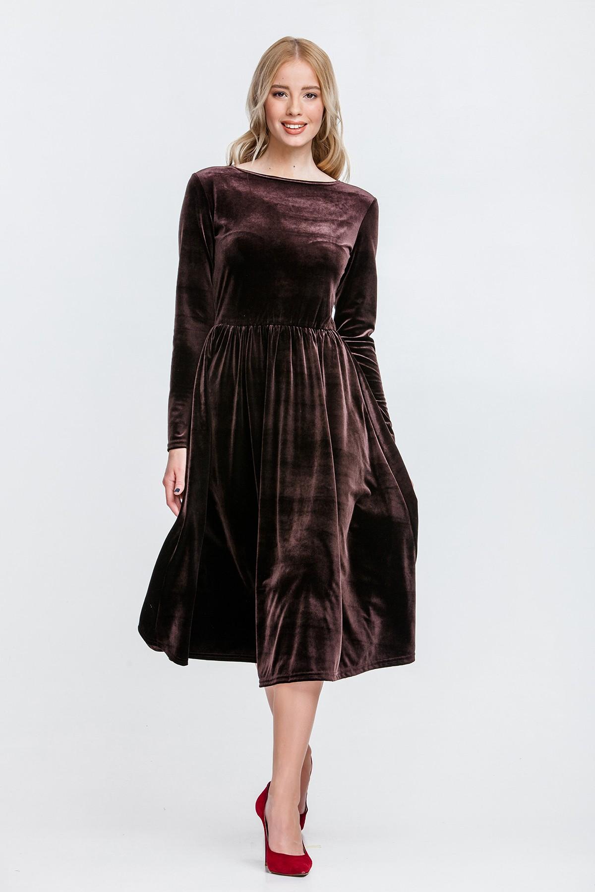 в чем встречать новый год 2018: платье бархатное коричневое