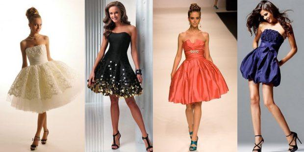 вечерние платья на Новый Год: короткие с пышной юбкой