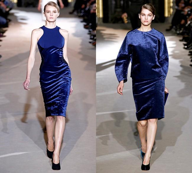 вечерние платья на новый год: синее по фигуре миди