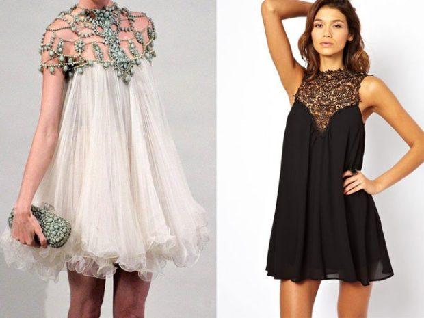 вечерние платья на новы год 2020: платье трапеция белое шифон черное с камнями