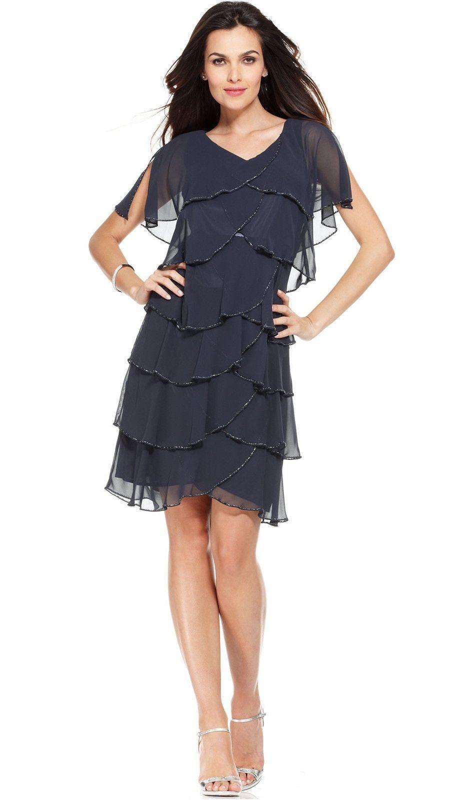 вечерние платья на новый год: многоярусное черное шифоновое