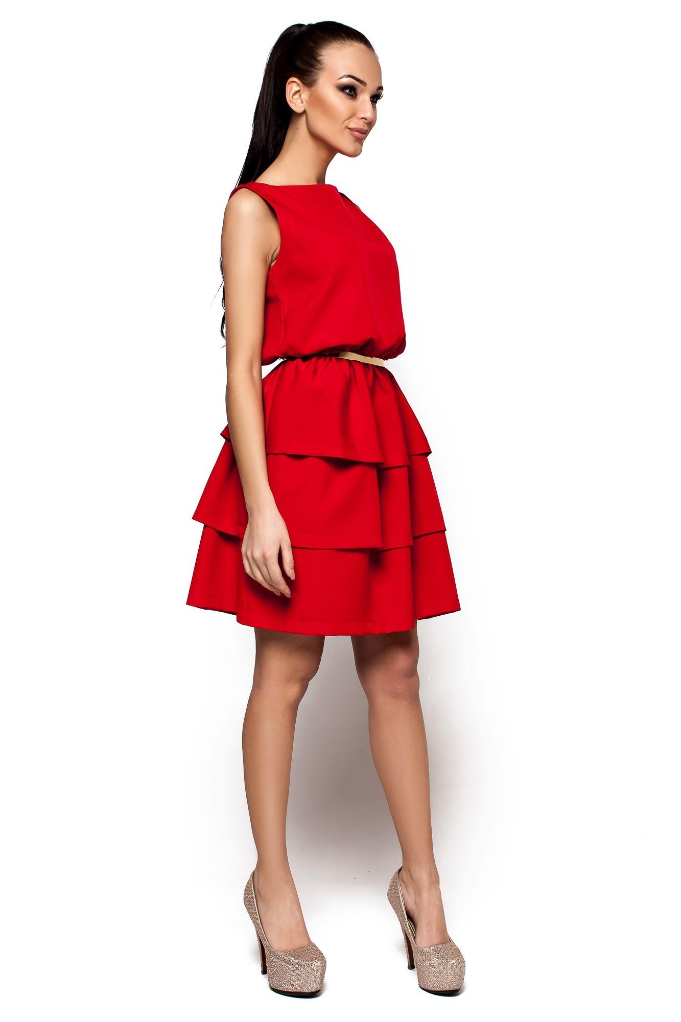 вечерние платья на новый год: многоярусное красное без рукава короткое