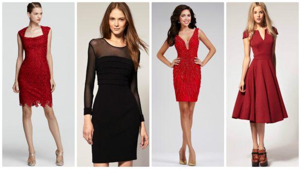 вечерние платья на Новый Год: платья короткие красные черное