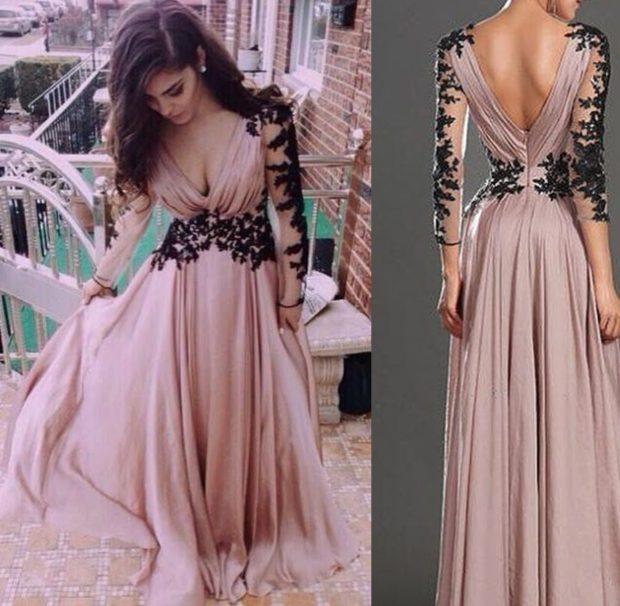 вечерние платья на новый год 2020: платье с вырезом V платье в пол с вышивкой