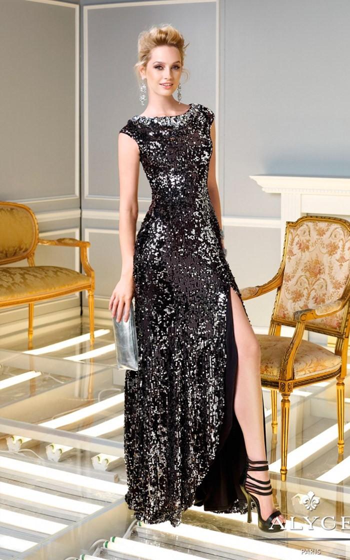 вечерние платья на новый год: длинное черное с серебром