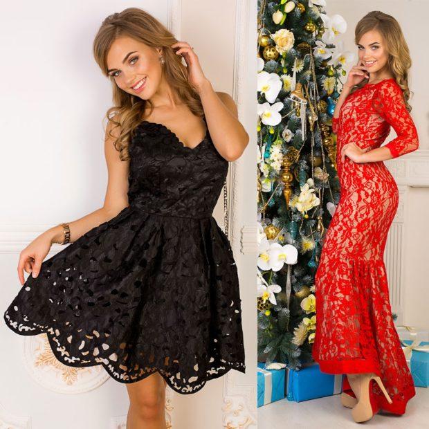 вечерние платья на новый год: черное короткое красное в пол