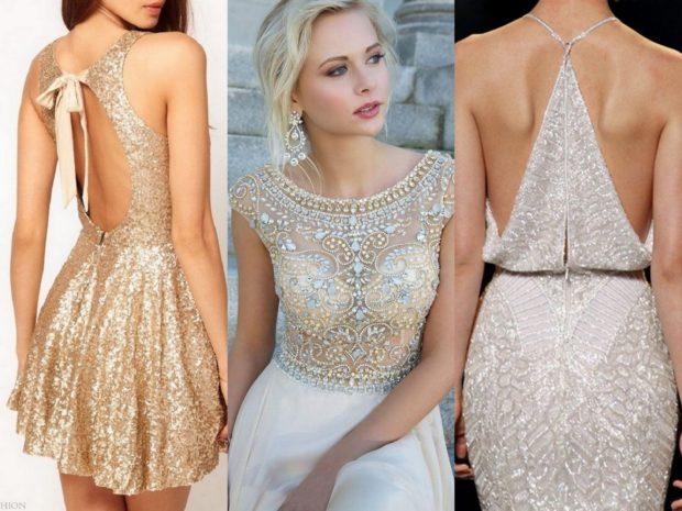 вечерние платья на новый год: короткое спина открытая декольте в камнях бежевое