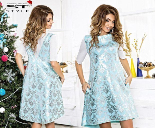 вечерние платья на новый год: короткое в снежинки