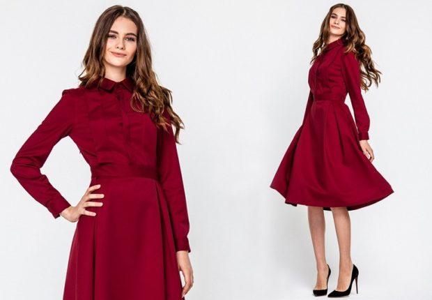 вечерние платья на Новый Год: бордовое юбка солнце