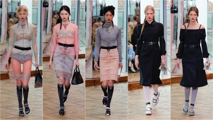 d440ac60fa5 Весенняя коллекция женской одежды Prada 2018 года  шифоновое платье плащ  пальто без плеч
