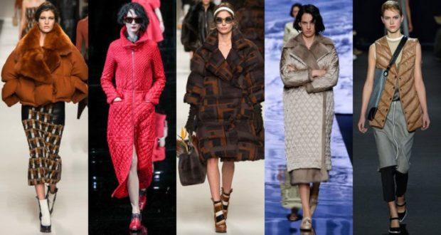 модный образ зима 2018: куртки короткие длинные стеганые коричневая розовая серебро