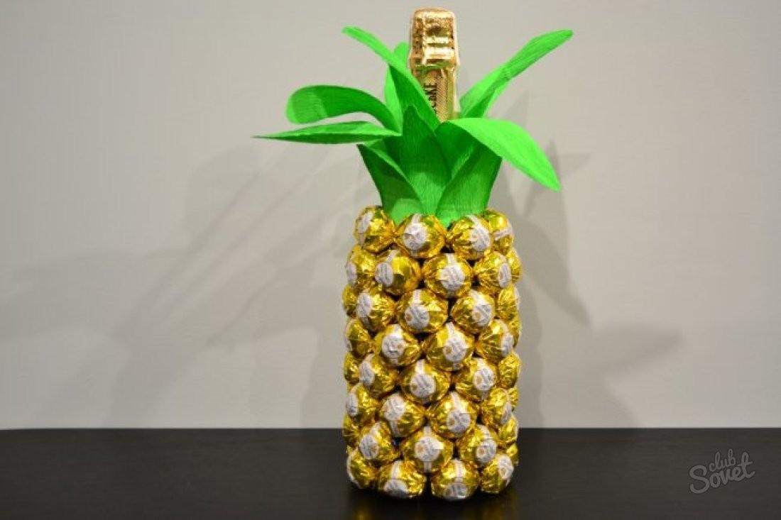 Ананас с конфет и шампанского своими руками 12