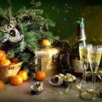 шампанское и мандарины на Новый год 2018