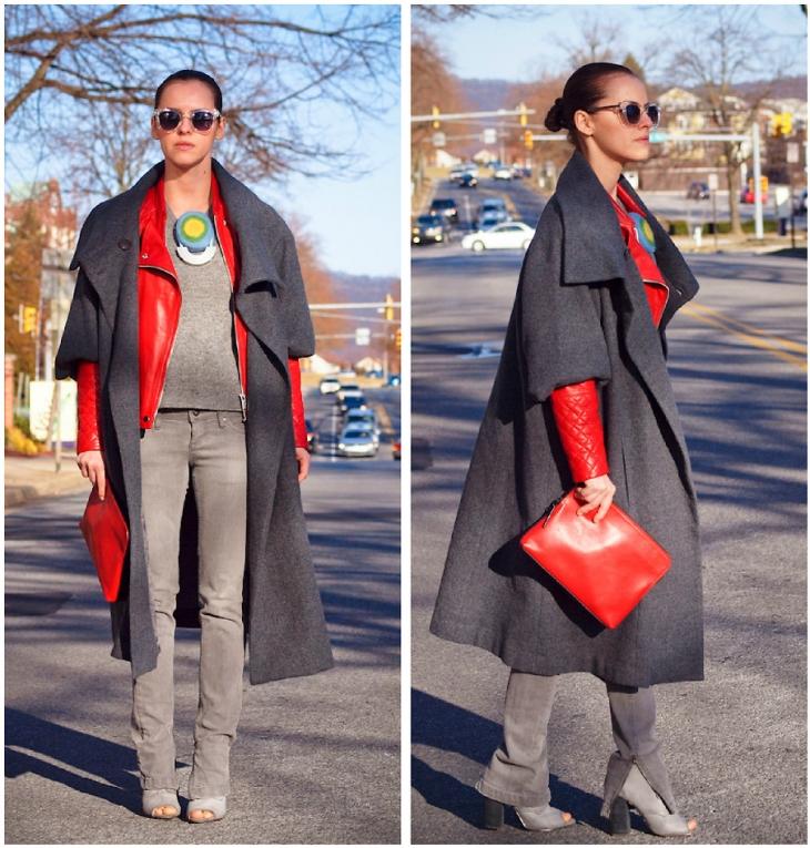 пальто куртки весна 2019: серая миди рукав по короткий