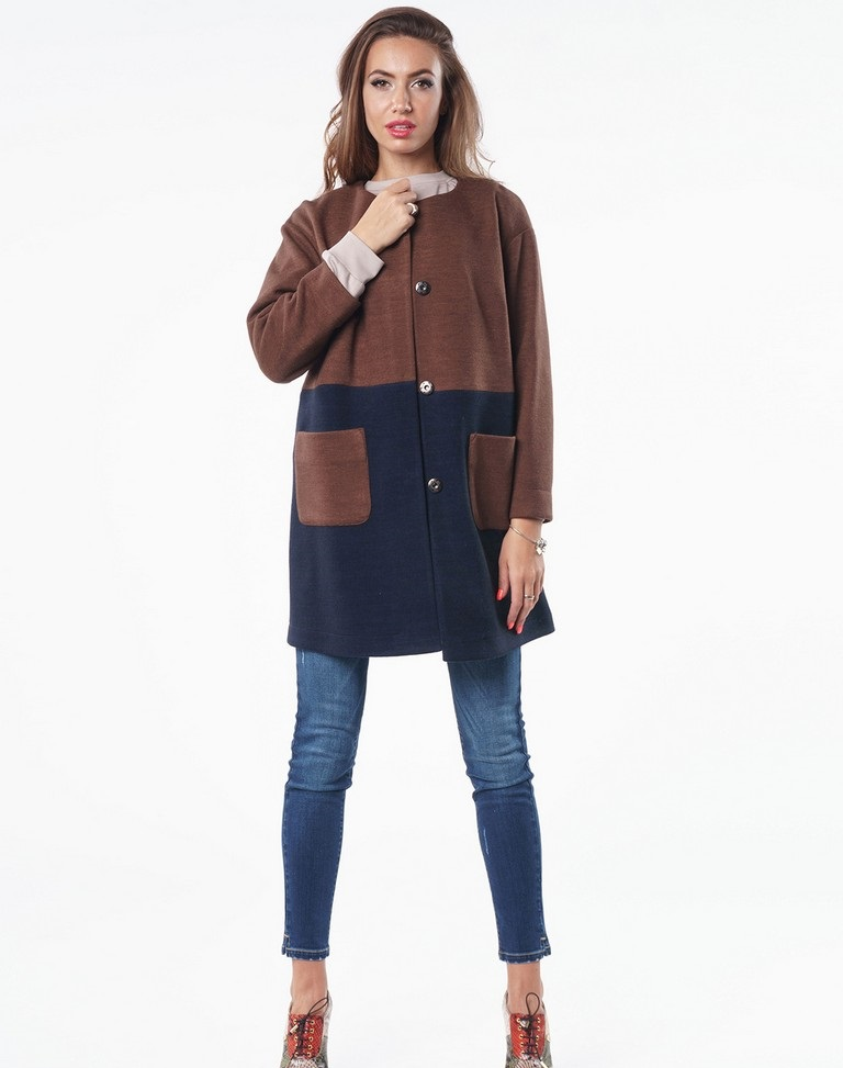 пальто куртки весна 2019: коричневое с синим