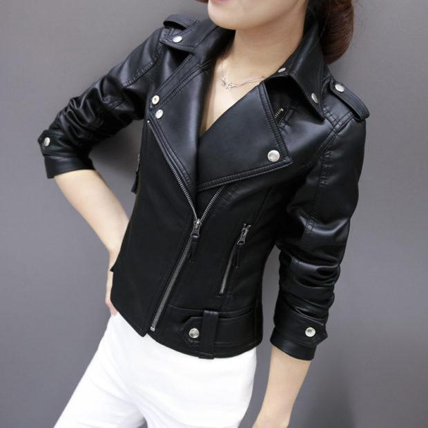 модные кожаные куртки весна 2019: черная с заклепками