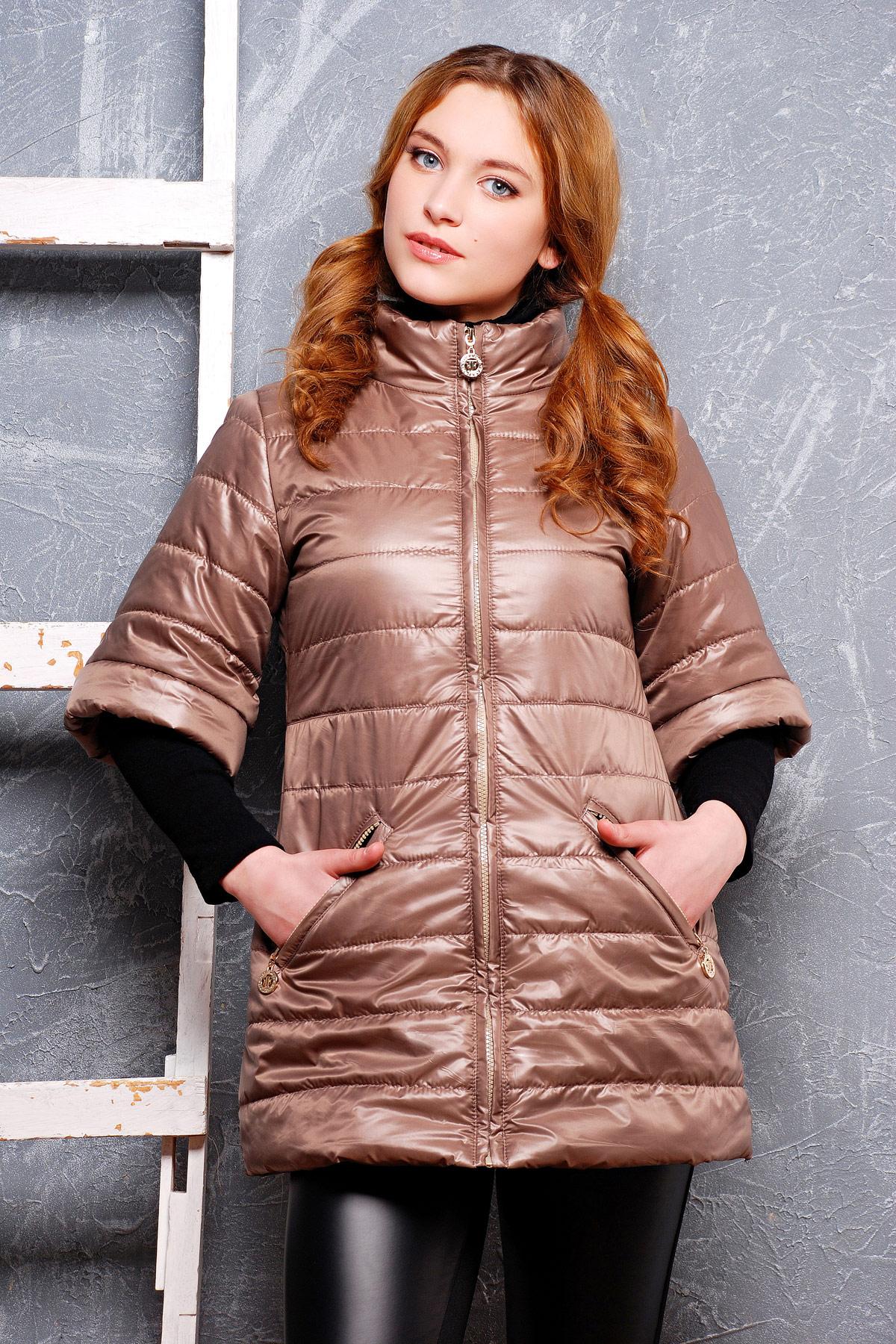 куртки весна 2019 для полных: коричневая с коротким рукавом