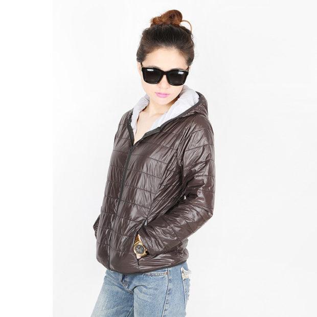 куртка синтепоновая коричневая короткая с капюшоном
