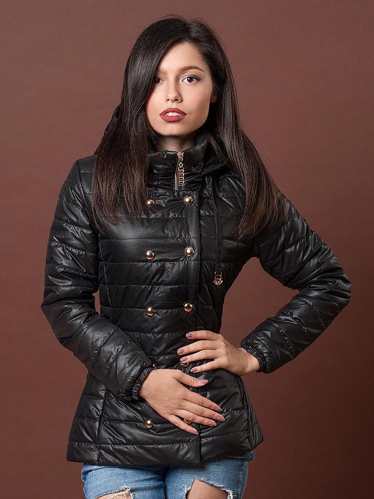 куртка синтепоновая черная приталенная