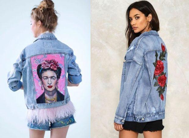 джинсовые куртки с принтом портрет цветы