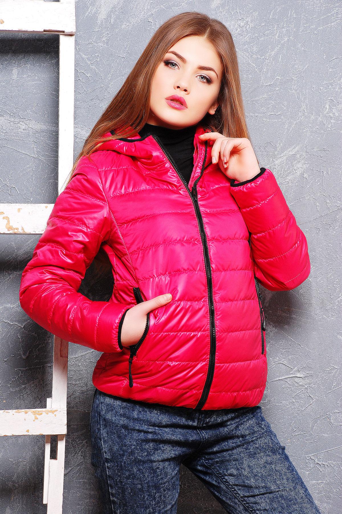 куртка синтепоновая малиновая короткая