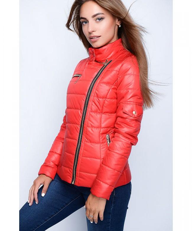 куртка синтепоновая красная короткая