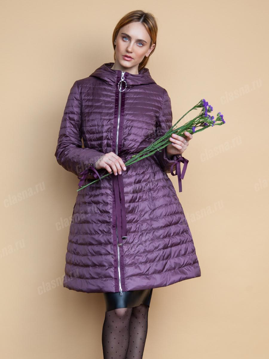 куртка синтепоновая фиолетовая приталенная