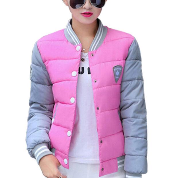 стеганая куртка серая с розовым короткая