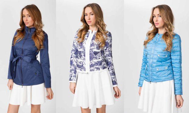 куртки весна 2018 синяя с поясом короткая белая с синим голубая стеганая