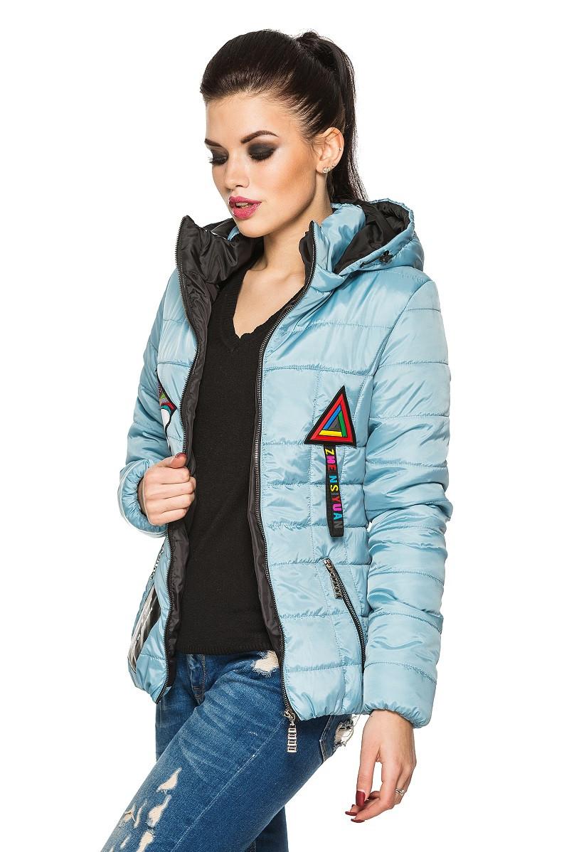 стеганая голубая куртка короткая