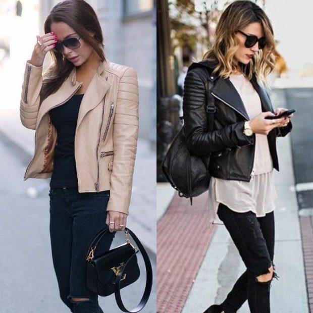 куртка бежевая черная кожаные