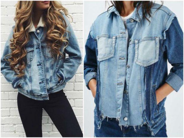 джинсовые куртки потертая с меховым воротом синяя с голубым