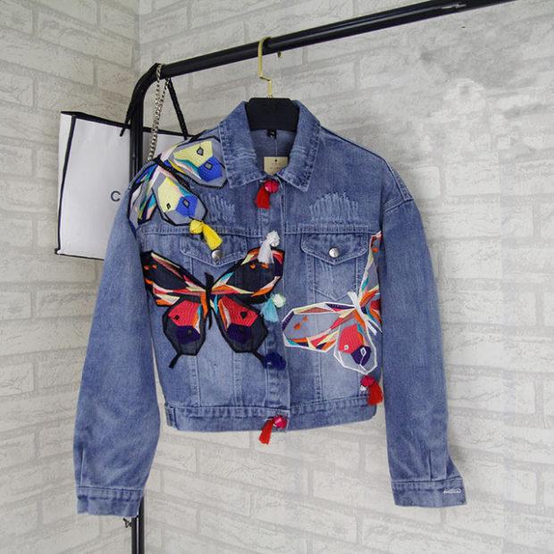 джинсовая куртка короткая в бабочки