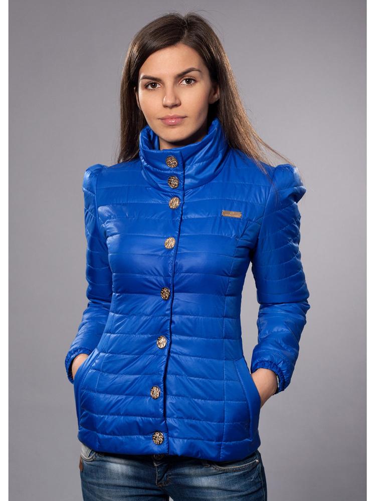 демисезонная куртка синяя ворот стойка