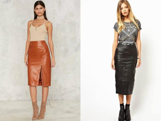 модные юбки весна лето 2019: кожаные коричневая по колено черная миди