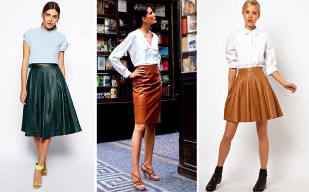 юбки весна лето 2019 года: кожаные зеленая коричневая светло-коричневая