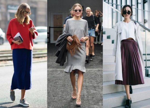 модные юбки весна лето 2019: синяя миди серая с воланами плиссированная бордо