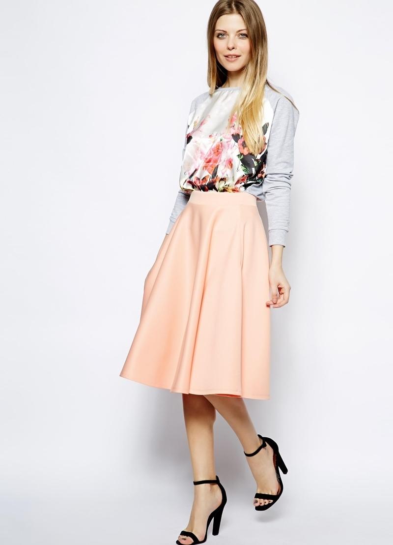 юбки весна лето 2019 года: миди персиковая