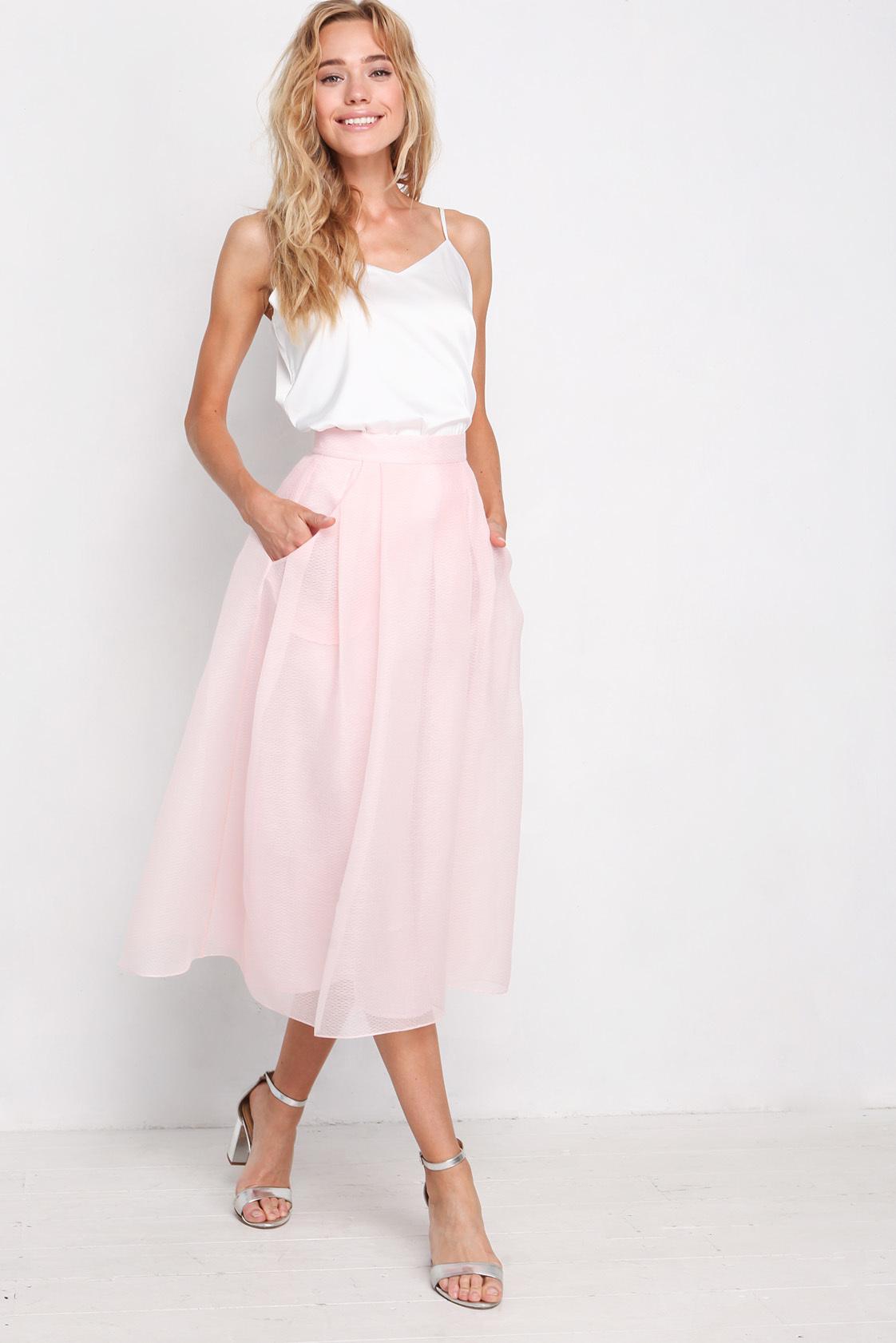 юбки весна лето 2019 года: миди бледно-розовая