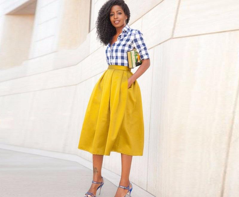 юбки весна лето 2019 года: миди горчичный цвет с карманами в складку