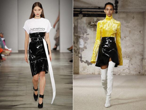 модные юбки весна лето 2019: лаковые черные