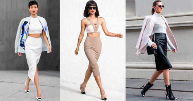 модные юбки весна лето 2019: карандаш белая бежевая черная