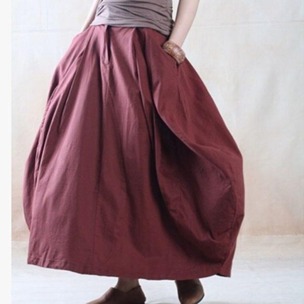 модные юбки 2019 года весна лето: широкая бордовая в пол