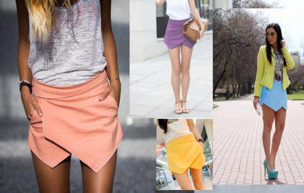 модные юбки 2019 года весна лето: шорты бежевые желтые фиолетовые голубые