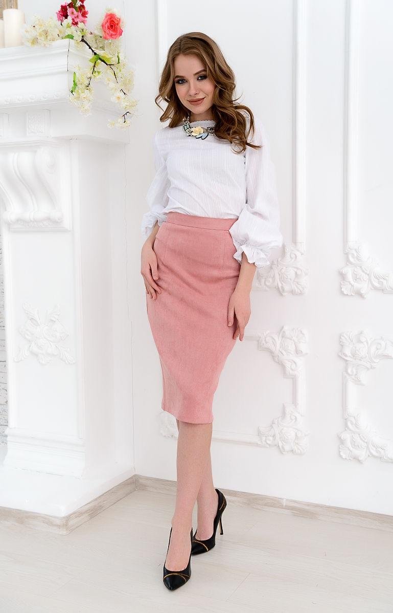 модные юбки 2019 года весна лето: карандаш розовая