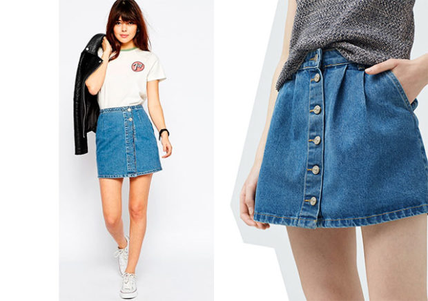 модные юбки весна лето 2019: джинсовые короткие с пуговками