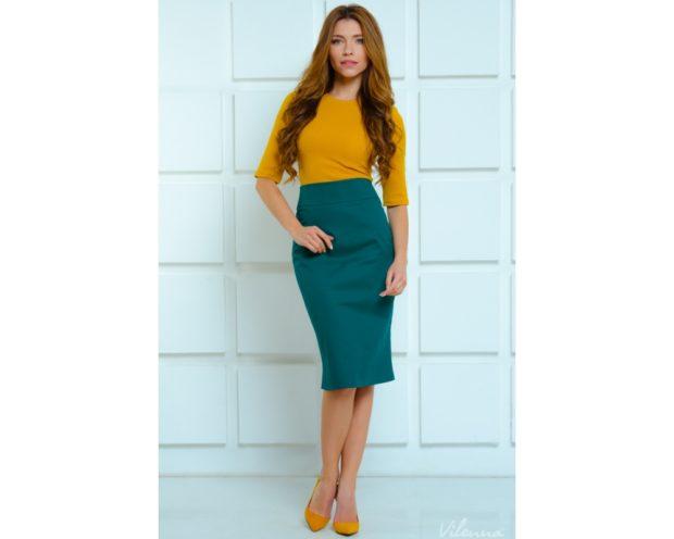 модные юбки 2019 года весна лето: карандаш зеленая