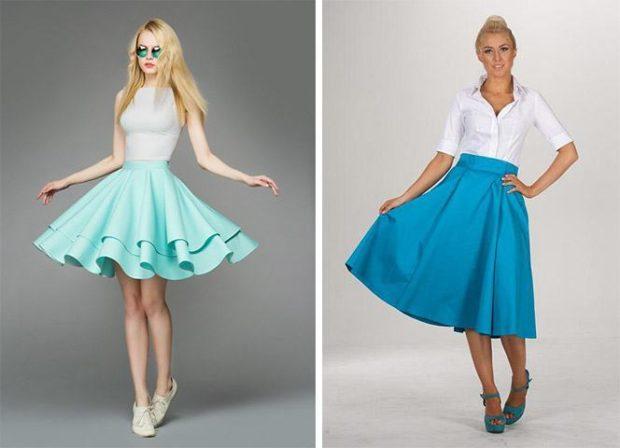 модные юбки весна лето 2019 фото: широкая солнце бирюзовая голубая