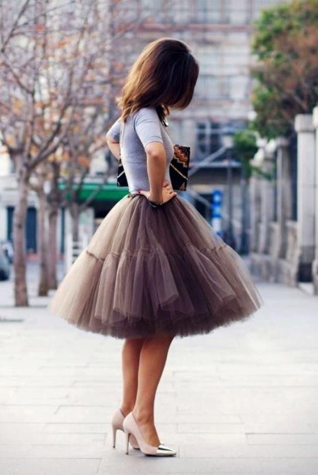 модные юбки весна лето 2019 года: пачка коричневая короткая